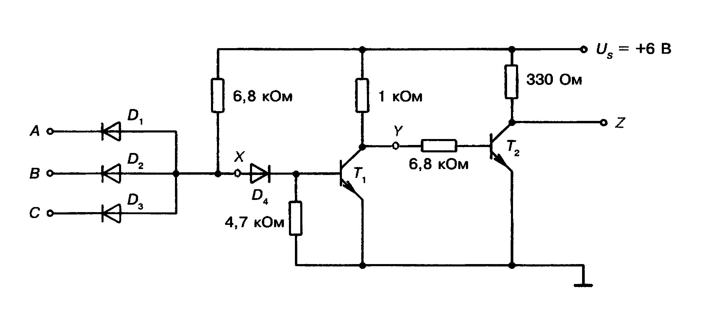 резисторно транзисторная логика схема